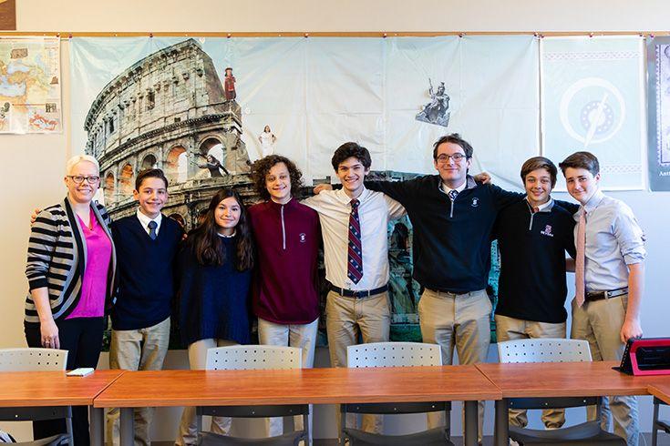 Severn School students with their teacher.
