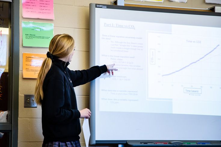 Severn School high school student presents data in a slideshow.