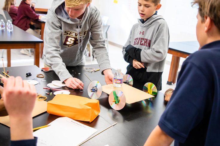Severn School middle school students work on an innovative design challenge.