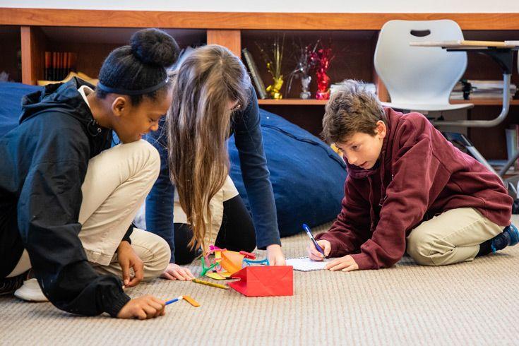 Severn School middle school students work on an innovation design challenge.