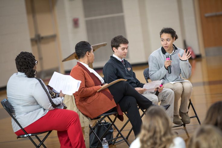 Severn School students facilitate a panel discussion during Unity Day.