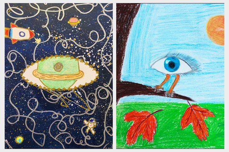 Photos of Severn School student artwork.