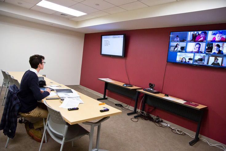 Severn School student working in the online classroom.