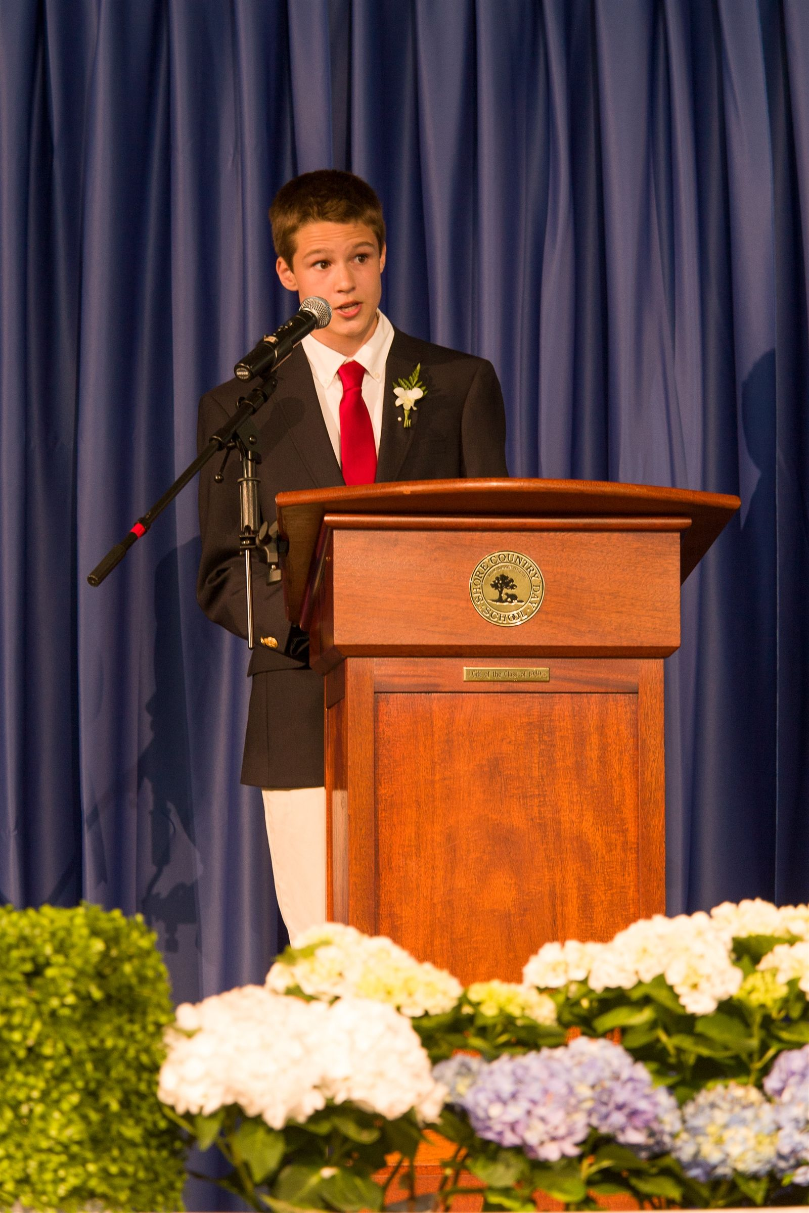 Ninth grader Nikko Dominaitis eloquently delivered his remarks to his fellow graduates, faculty and staff, and guests in attendance for Shore