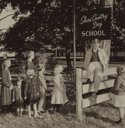 Students by the Cabot Street entrance, 1950s