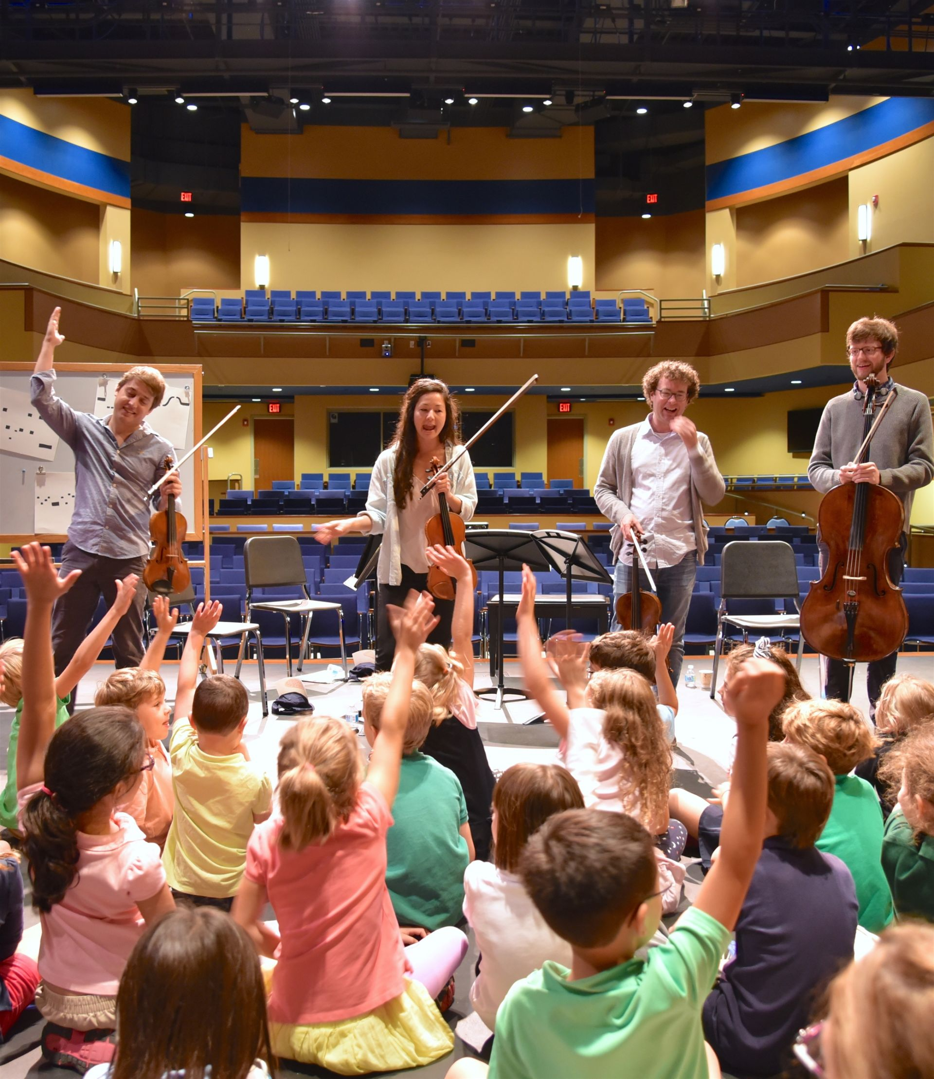 Lower School students are eager to question the Aeolus Quartet in Shore's Theatre