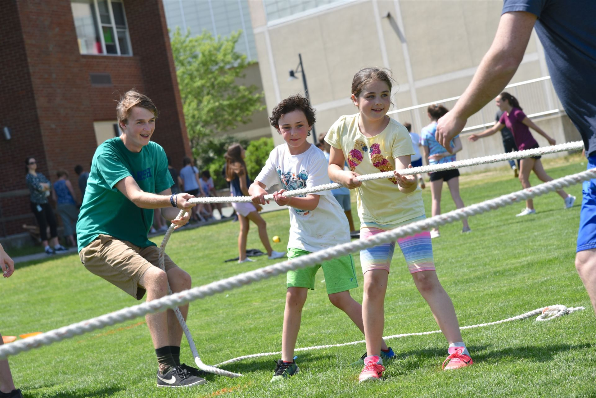 A tug of war with Lower School students