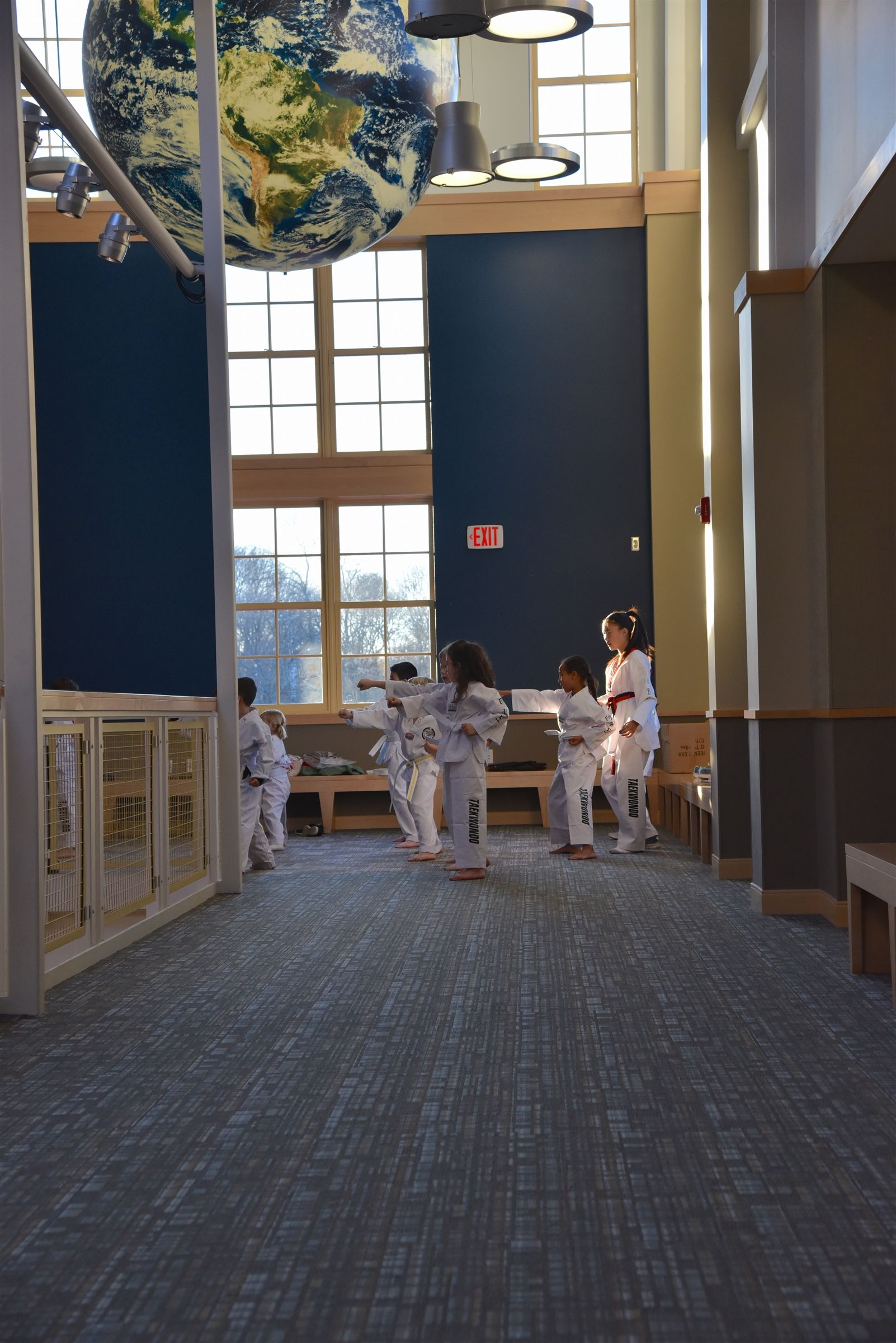 A Tae Kwon Do class in the Center for Creativity