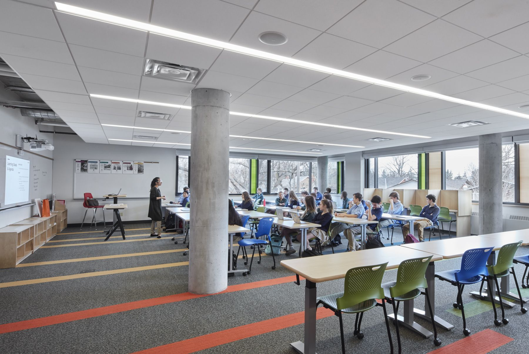Greenwood's building features three Learning Community classrooms. These flexible rooms easily reconfigure to support many different types of instruction.