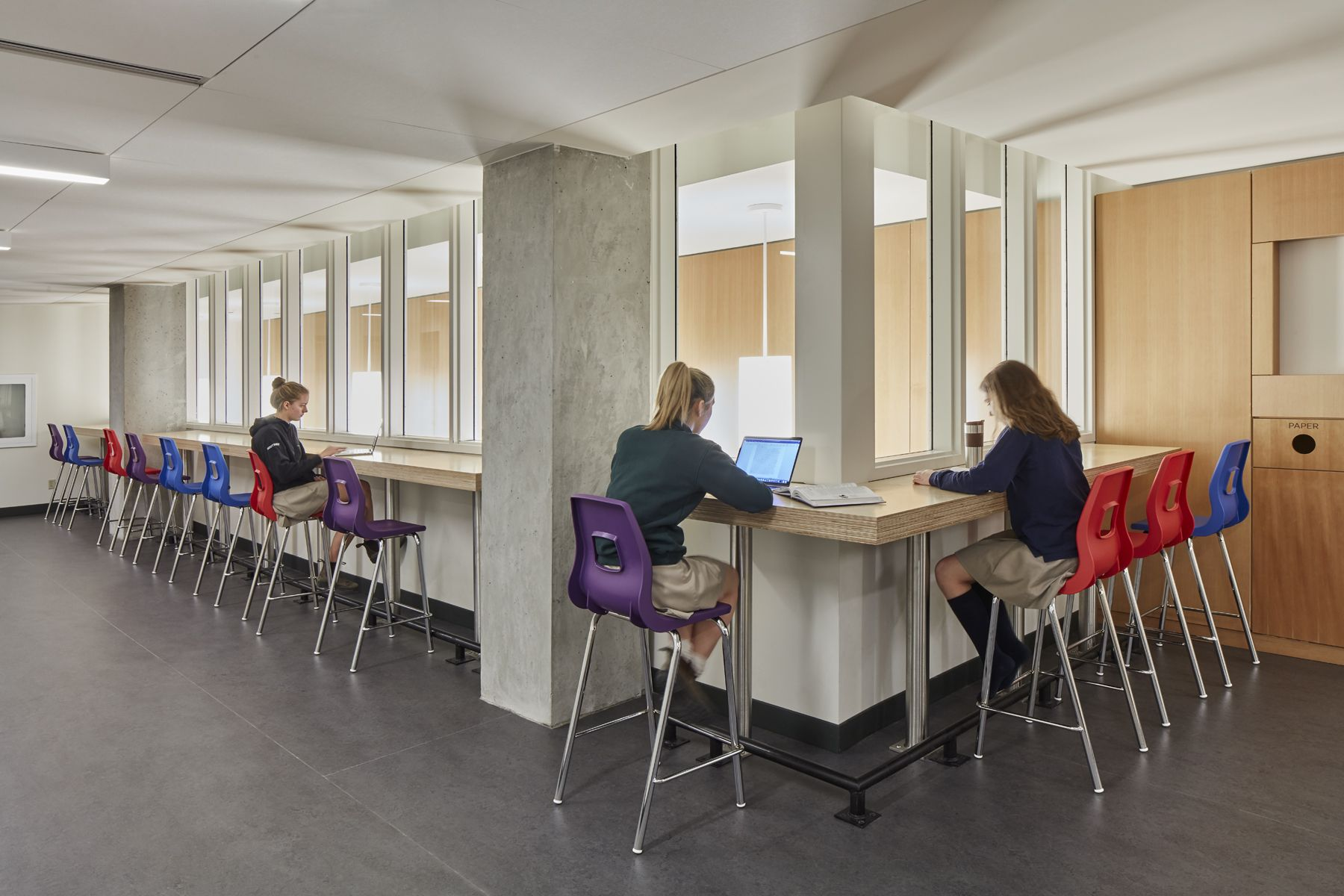 Our expanded and renovated building includes a generous mix of quiet work spaces and social spaces.