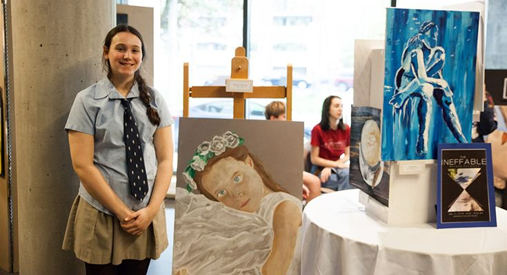 Grade 12 Visual Arts students display their work in a gallery at our annual Arts Showcase.