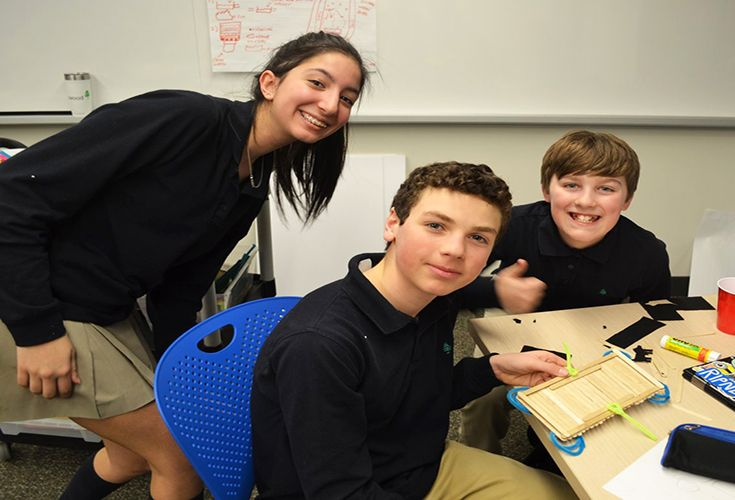 Grade 7 students collaborate to create a prototype for an invention that will help the main character from their English novel to survive a natural disaster.