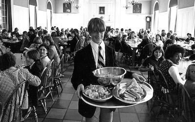 Serving at lunch, 1979