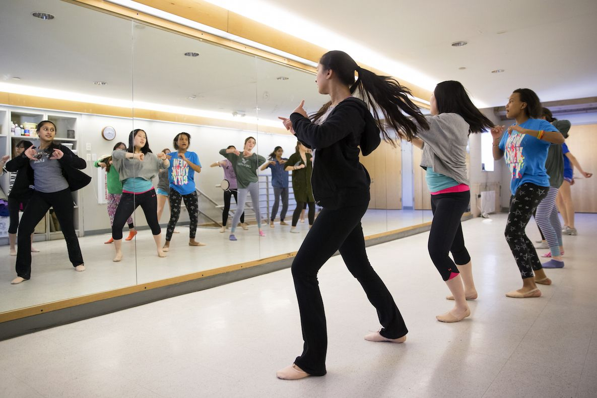Upper School students may choose dance as an athletic option, and they practice in our dance studio, which is located in Harlow Gym.