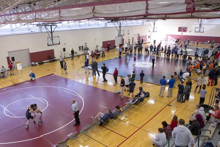 Harlow Gym is used for Primary and Lower School P.E. classes, basketball and volleyball games and  practices, and wrestling tournaments.
