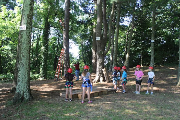 Our ropes course is located at the southern end of campus and features high- and low- ropes courses  that are in use during the fall and spring terms; they're also an integral part of FaySummer, our day and  overnight summer program.