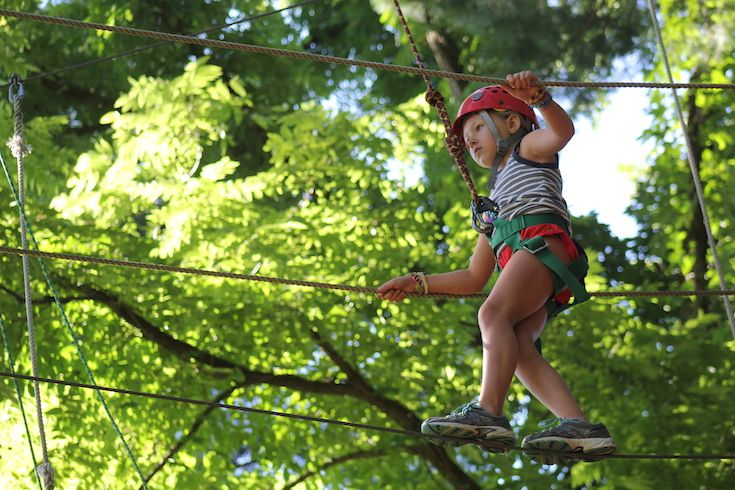 This year, we have added five new high course elements to our ropes course, including a 37-foot- high  outdoor climbing tower.