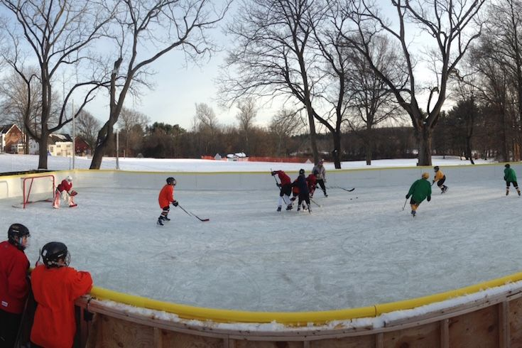 When the weather cooperates, our hockey teams also practice outside, at the outdoor rink we build on  campus every season.
