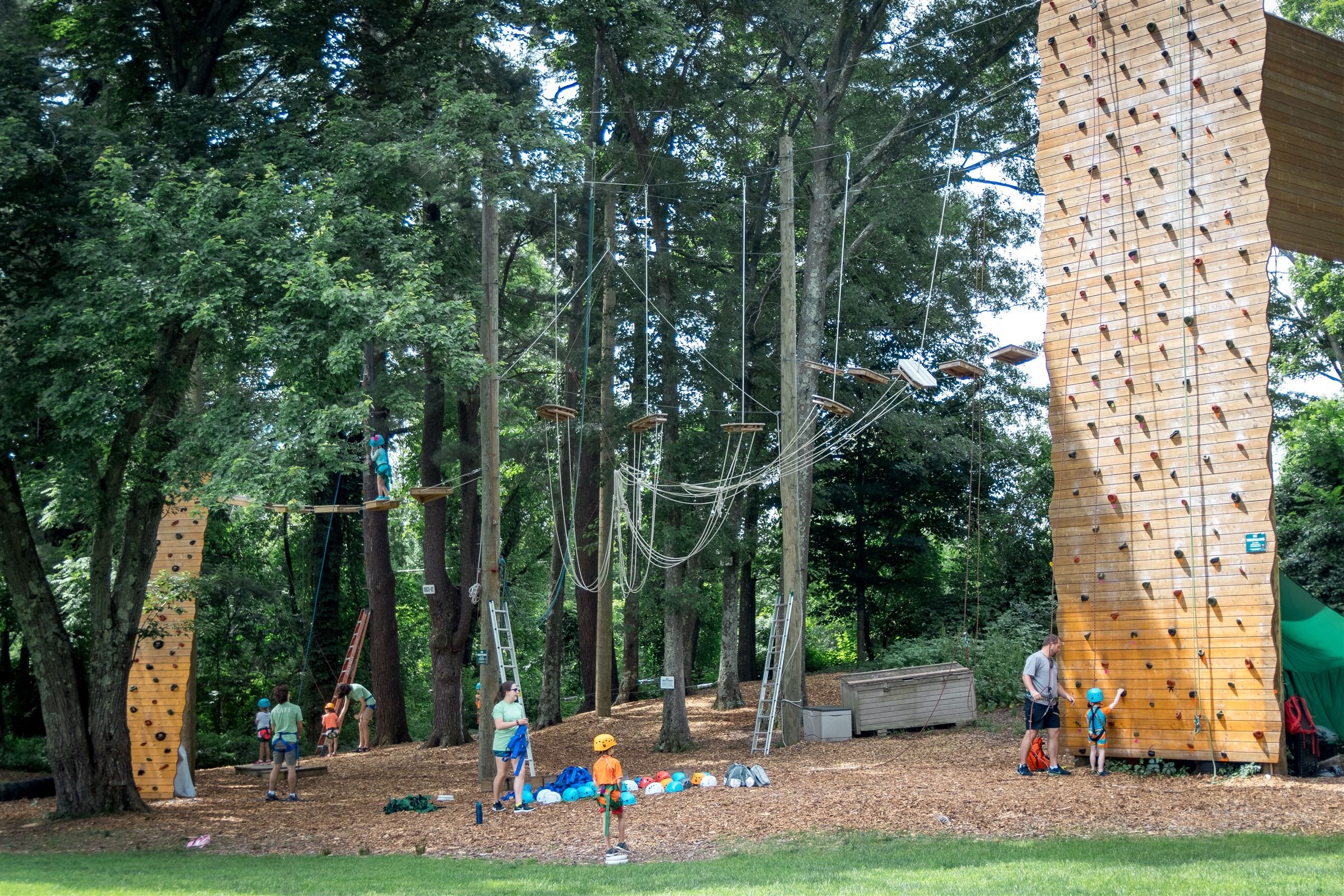 Our adventure course, located in a wooded corner of campus near the Sudbury Reservoir, includes high ropes and low ropes, a 37-foot climbing tower, and a new 12-foot climbing element for our youngest campers that was installed in 2018.