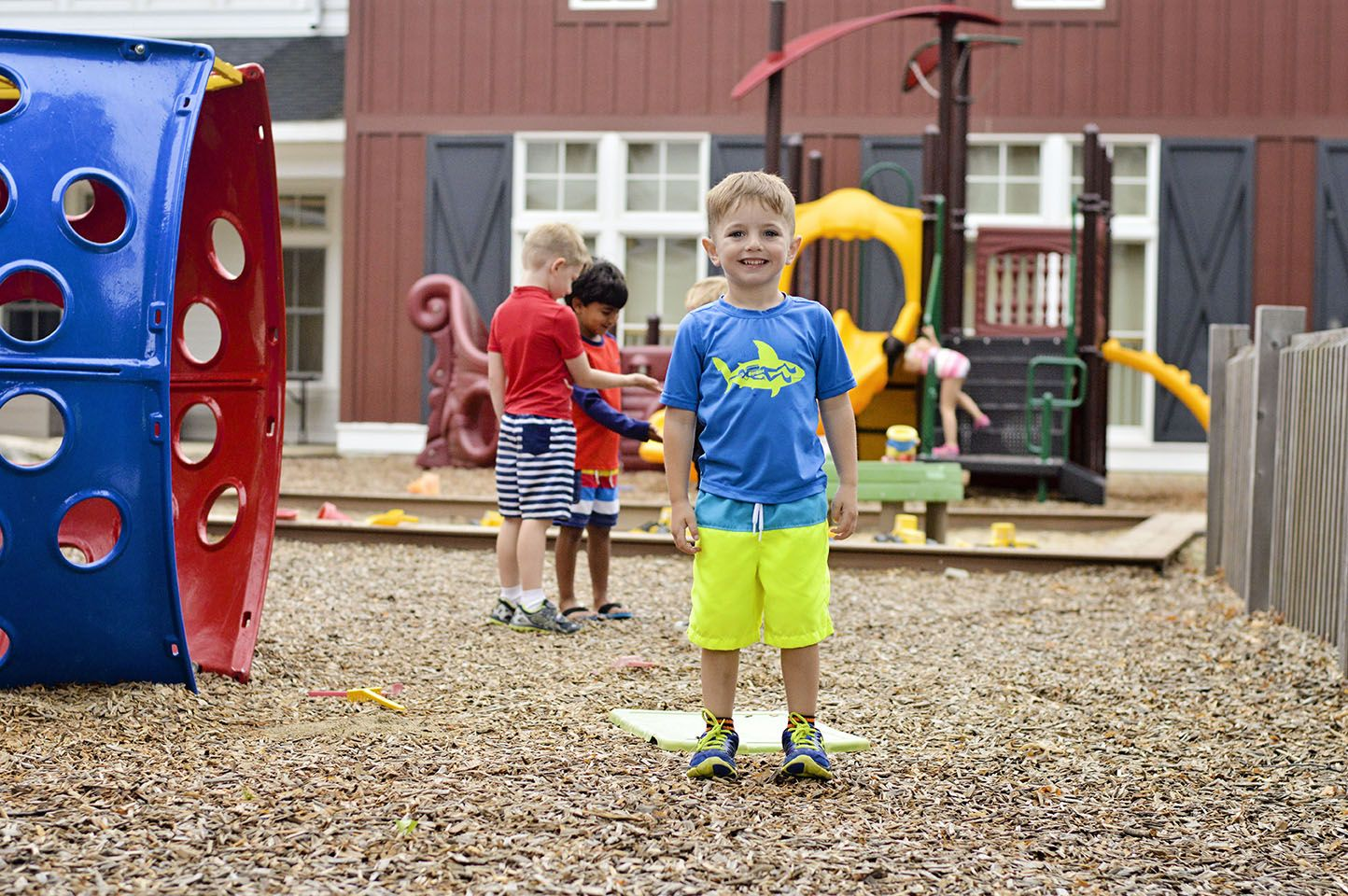 There are two playgrounds on campus that campers use each day. One is designed for younger campers...