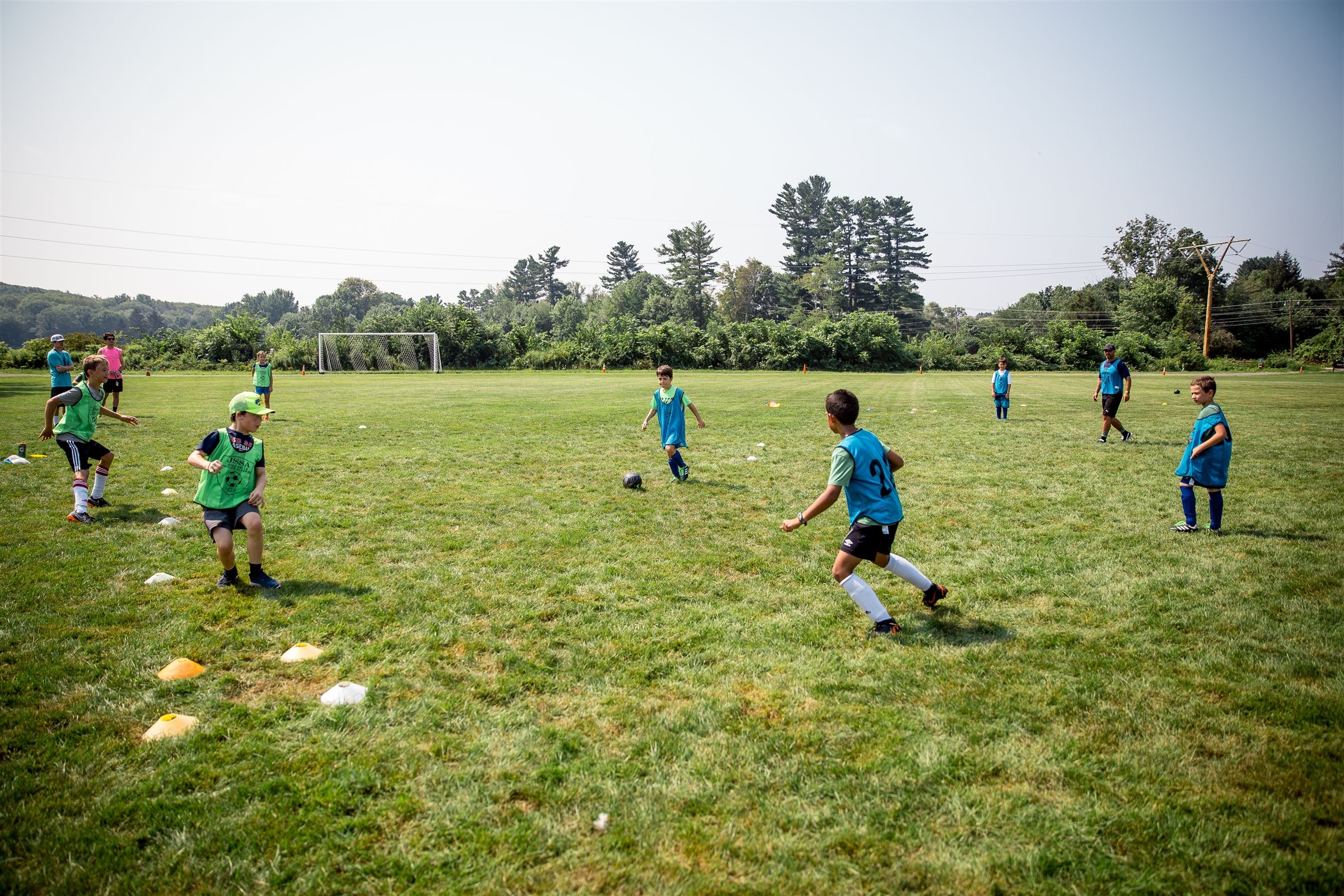 There are five athletic fields on Fay's main campus and campers use them to play soccer and other games.