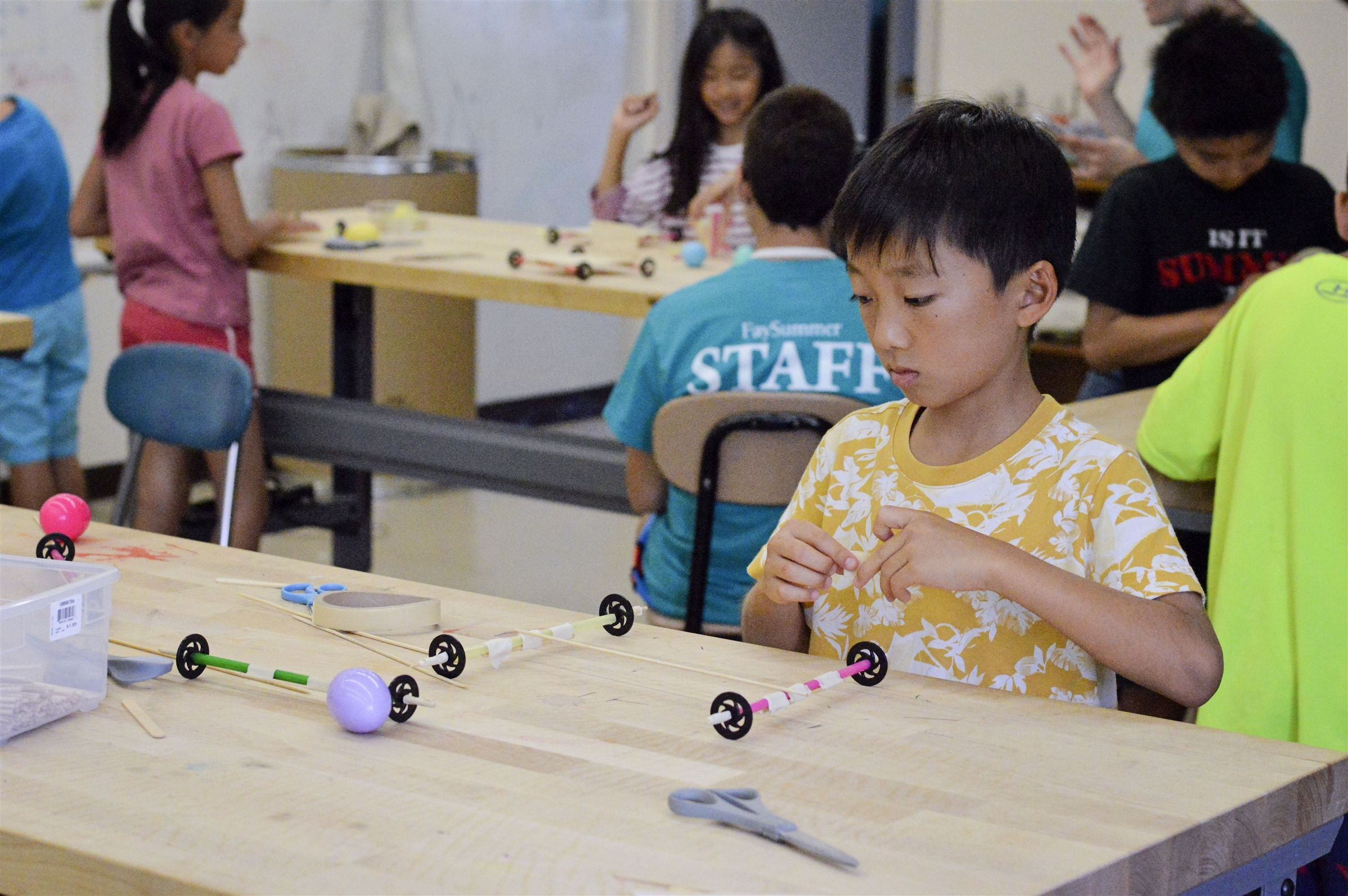 Campers have access to Fay's Innovation Lab, a 3,700 square-foot space that includes everything you need for inventing and making. Campers have opportunities throughout the summer to design and build in this safe and supervised setting.