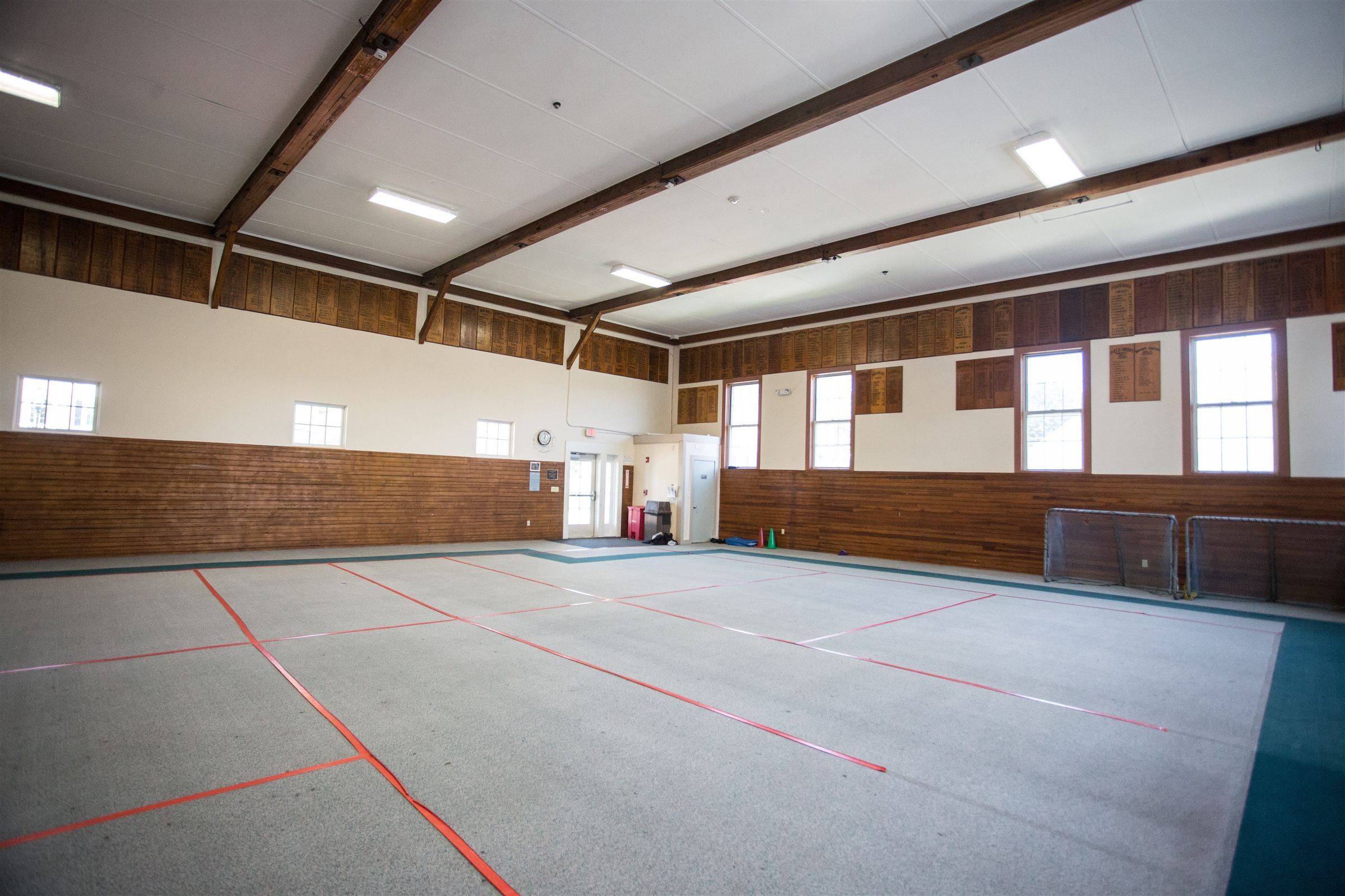 The 2,420 square foot indoor space at Upjohn is a multi-purpose room with carpeted floors. Rentals in this space have included everything from child care groups to martial arts.