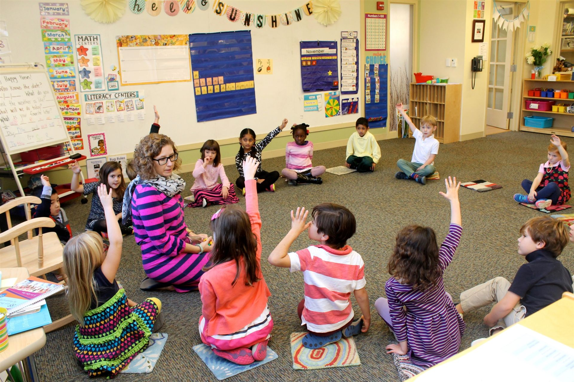 At Morning Meeting, students learn about their day, share thoughts and ideas with their classmates, and practice being good listeners. Fay's Primary School classrooms are guided by the Responsive Classroom Curriculum, a pro-social competency program in which children learn to follow agreed-upon rules as they becomes accustomed to the routines and procedures of the school environment.