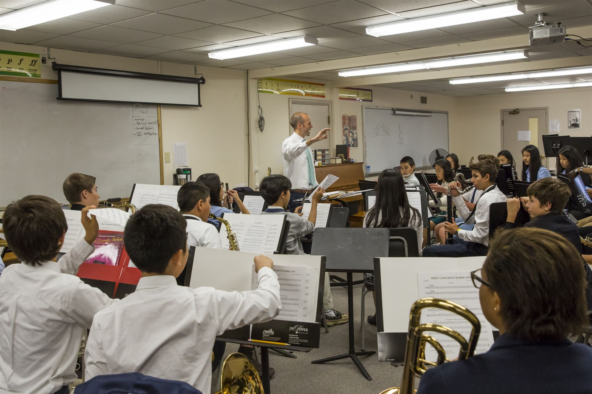 Each Upper School student chooses from one of the many music courses Fay offers, which include vocal ensembles, string ensemble, band, and bells. Everyone has the opportunity to participate, regardless of experience or skill level, and our performances throughout the year showcase the talents and interests of our student body. Because music practices are scheduled during the school day, they don't conflict with sports, which means that students can take part in a range of activities during their time at Fay.