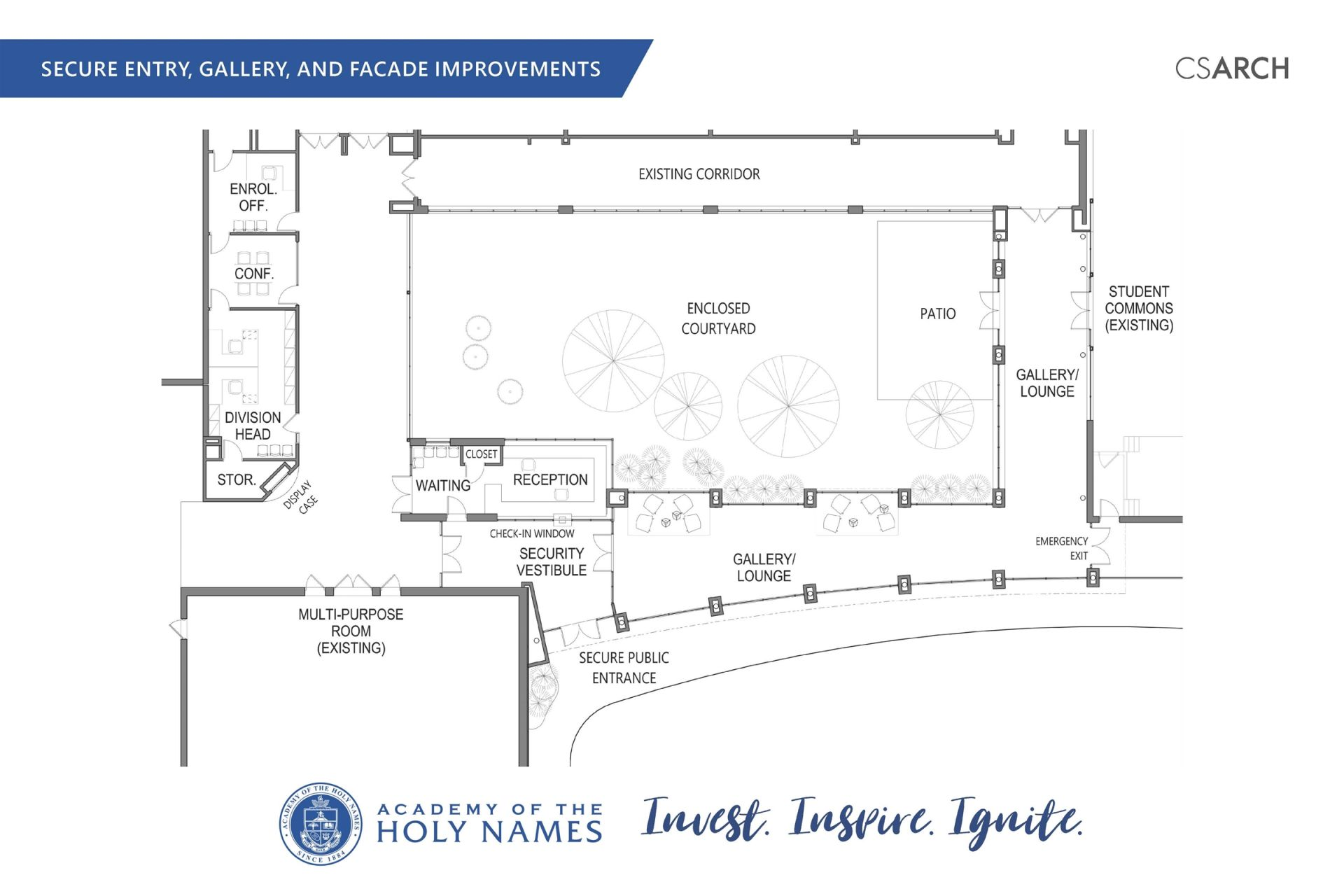 Blueprint of secure entry, gallery, and facade improvements.