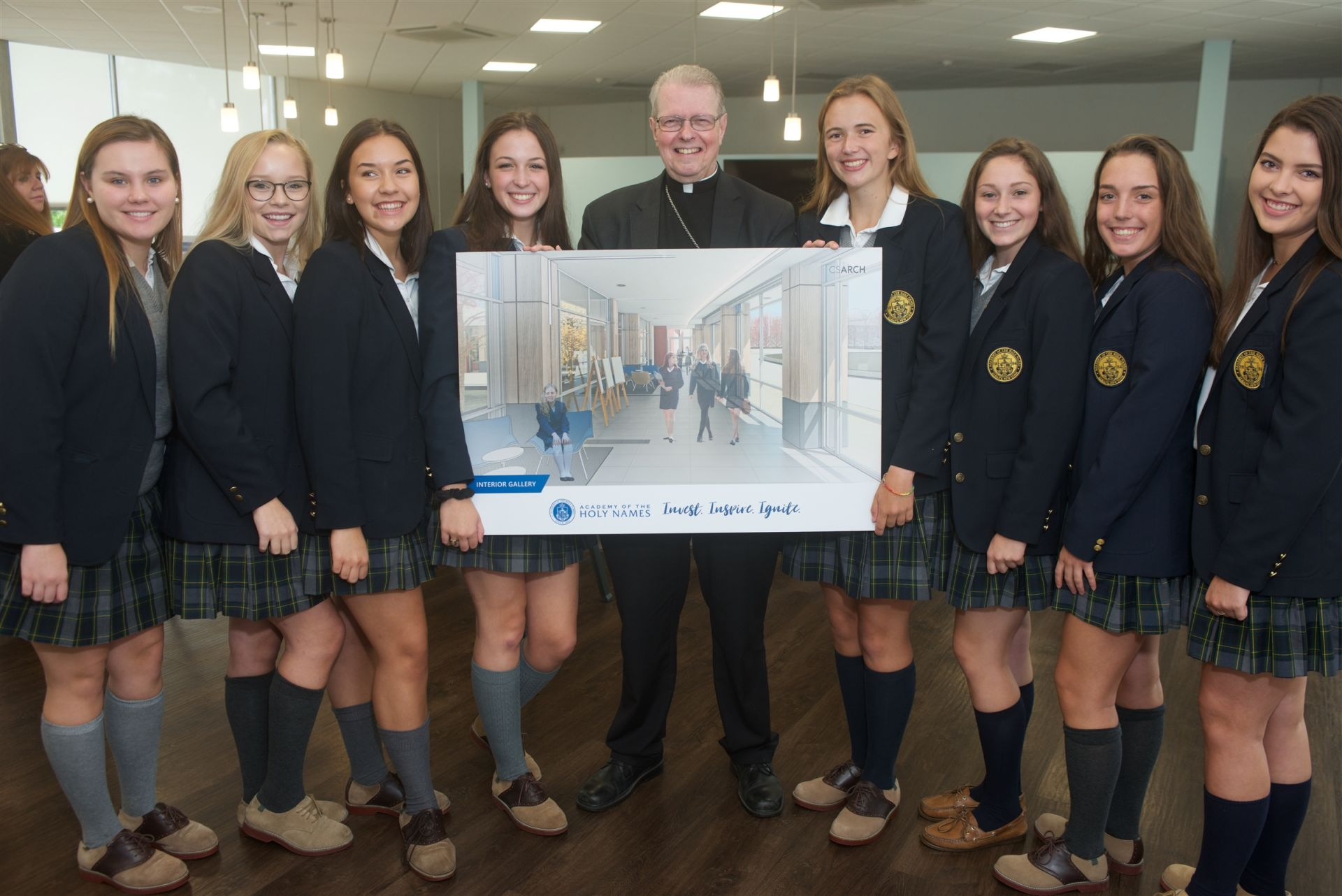 Bishop Scharfenberger with AHN Student Representatives