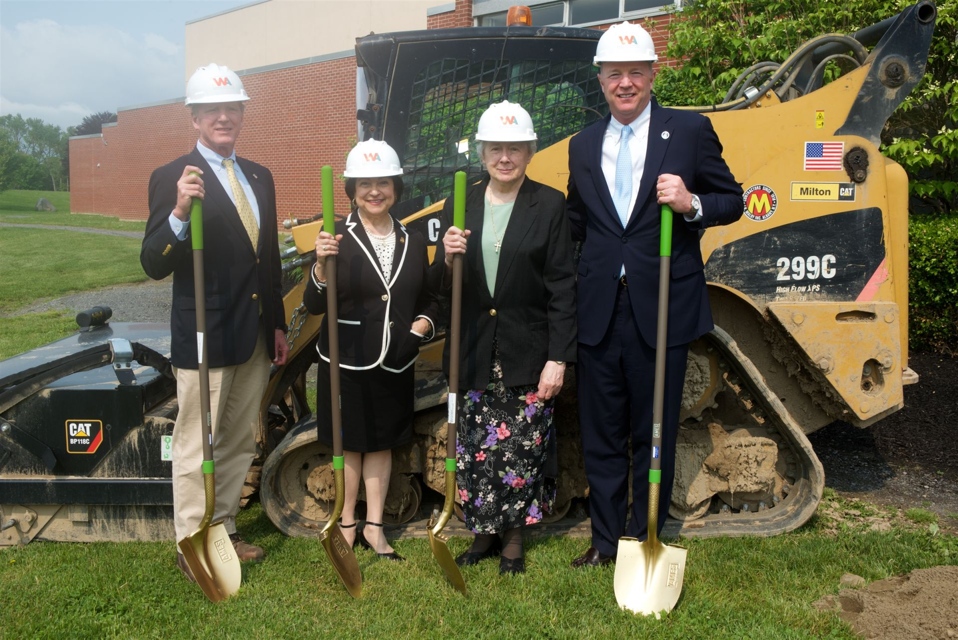Jack Maloy, Board Vice Chair, Mary Anne Vigliante, Head of School, Sister Karyl Fredericks, SNJM, and David Hayes, Board Chair