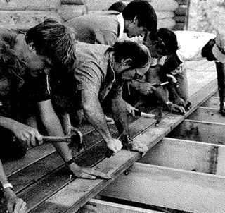 Helping build the deck in 1984