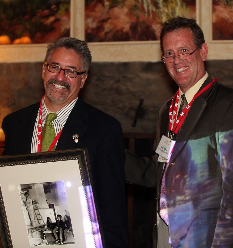 Painter Bruce Gomez '75 (with Arts Faculty Mark Dillon) was part of the Arts Guild inaugural class.