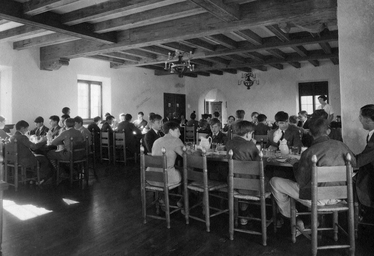 The dining hall in early days