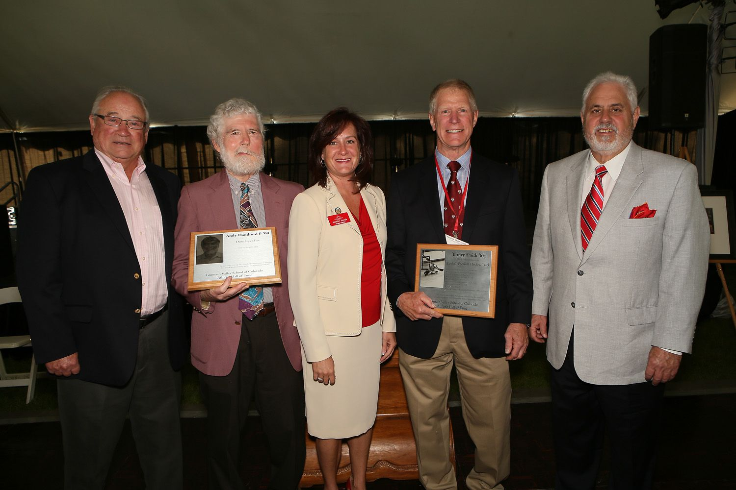 Former Faculty John Fuller, 2015 inductee Andy Handford P'00, Athletic Director Jen Joseph, 2015 inductee Torney Smith '65 and Norm Jones '62