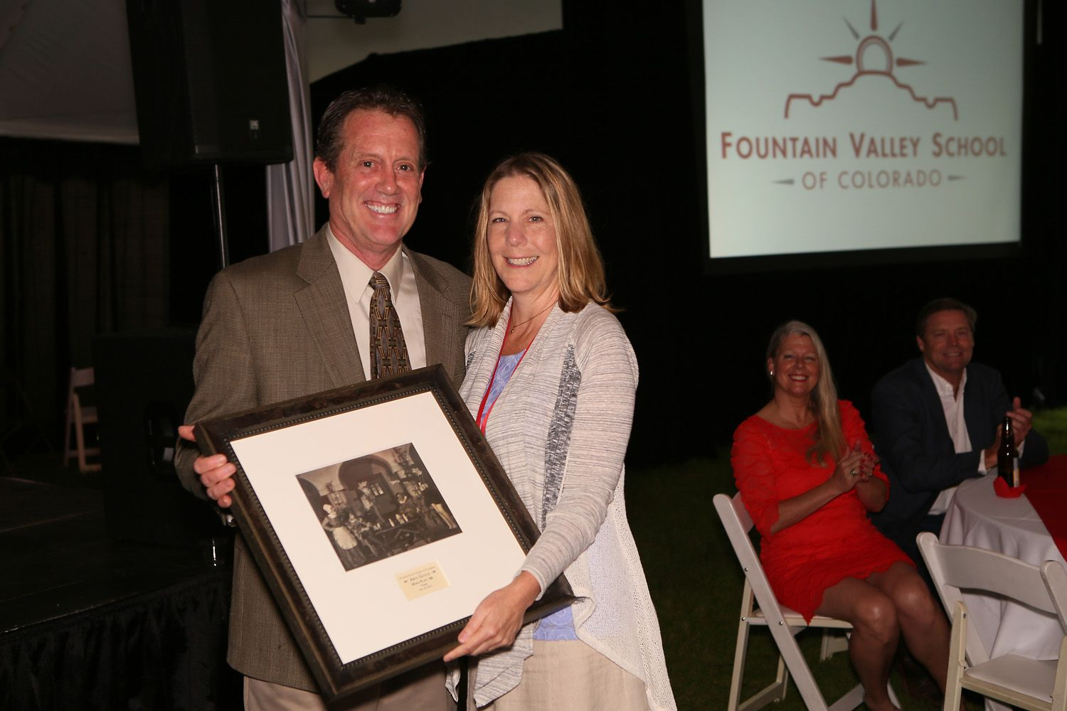 2015 inductee Myra Platt '80 with Arts Faculty Mark Dillon