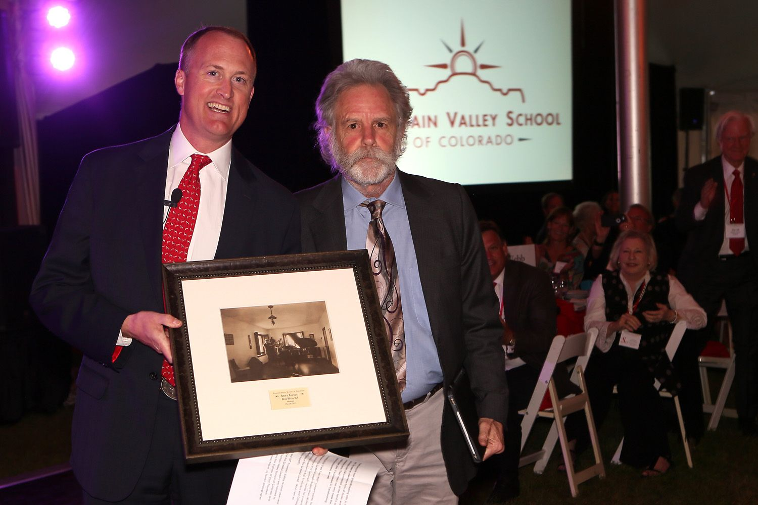 Head of School Will Webb with 2015 inductee Bob Weir '65