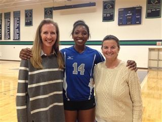 Kim Donaldson '12 (center) was visited by former faculty Paula Walter (left) and Kelly McAdams (right) at Colby College. Kim was just named to the All-NESCAC volleyball team.