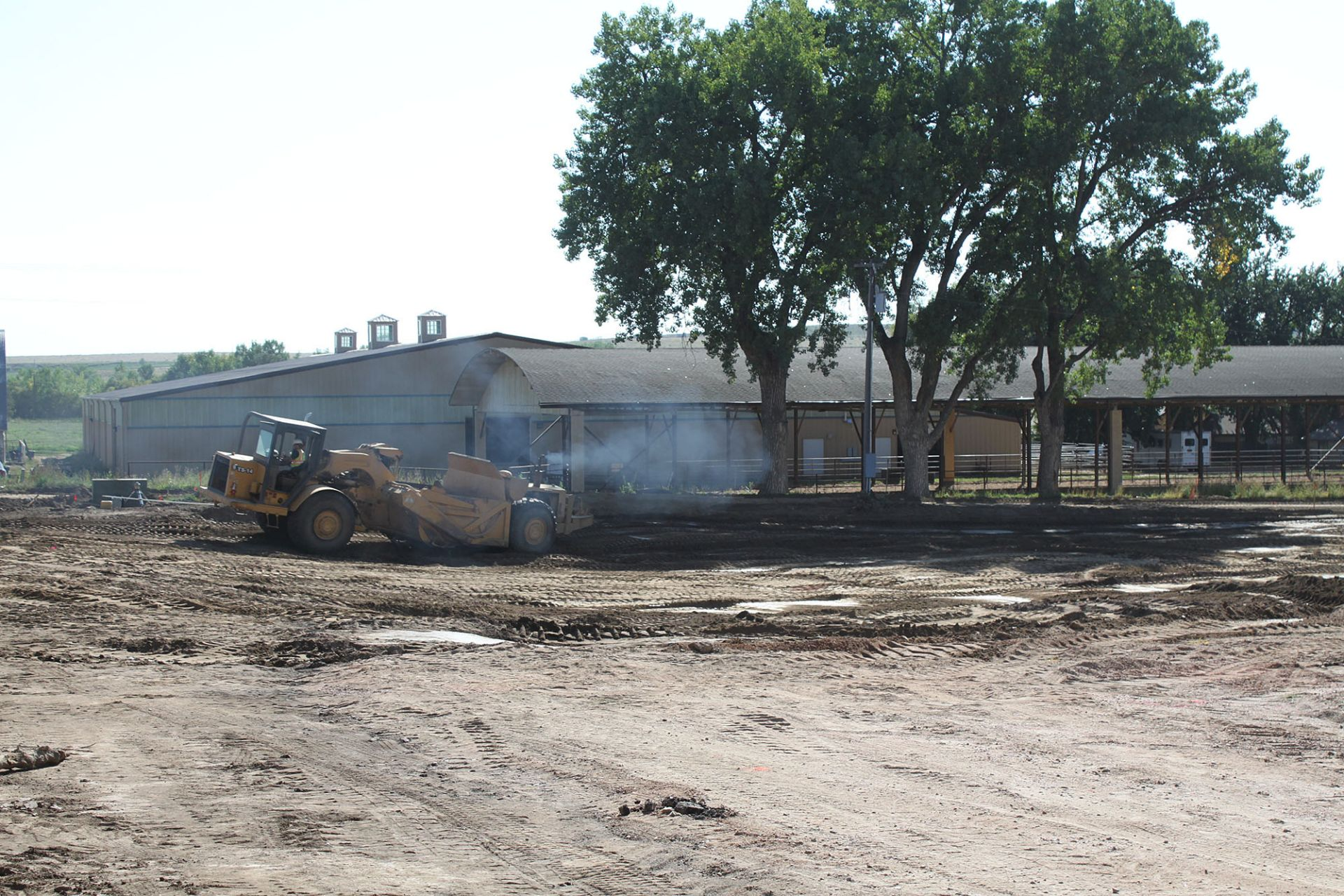 On the back road looking toward the covered arena ... it's empty now! This is where the Athletic Center will go.