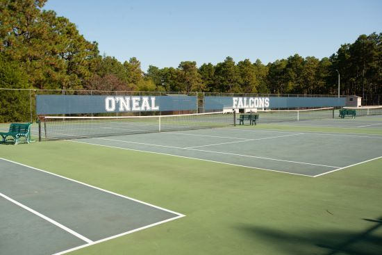 tennis courts on the private school campus