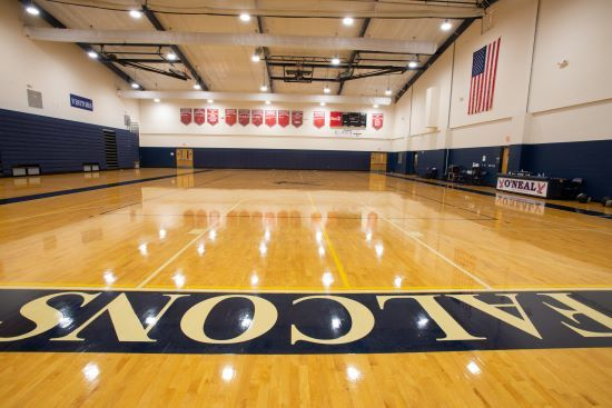 Full size gymnasium for high school basketball and volleyball and physical education classes