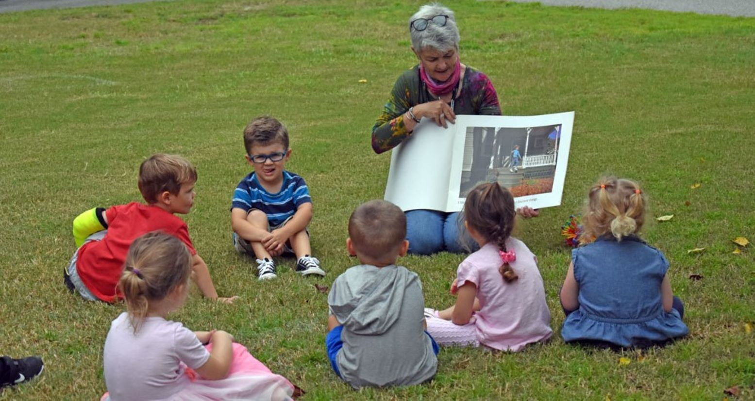 Preschool students at story time