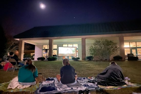 Outdoor movie night on the private school campus