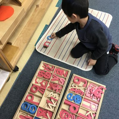 Spelling exercises at Montessori Based Preschool #RHMSCA #MontessoriDaySchool #MontessoriNorthSchool