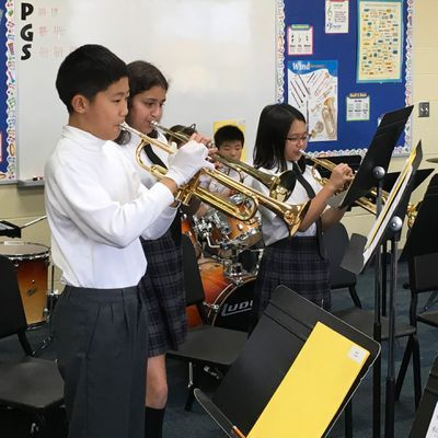 Grades 3 to 8 learn instruments in Private School Music Program