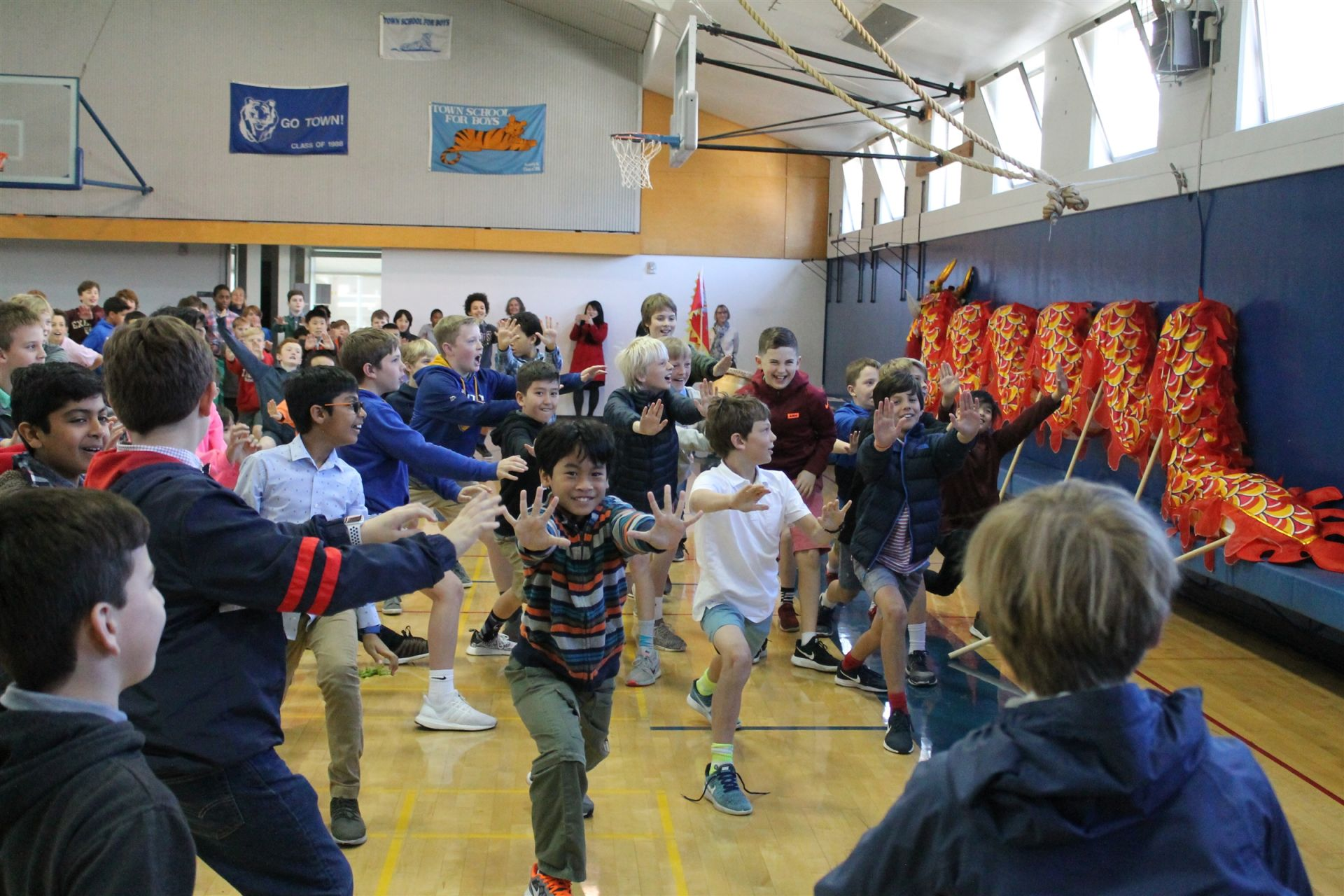 Students Learning from the Panda Kung Fu Center Visitors During the Lunar New Year Celebration
