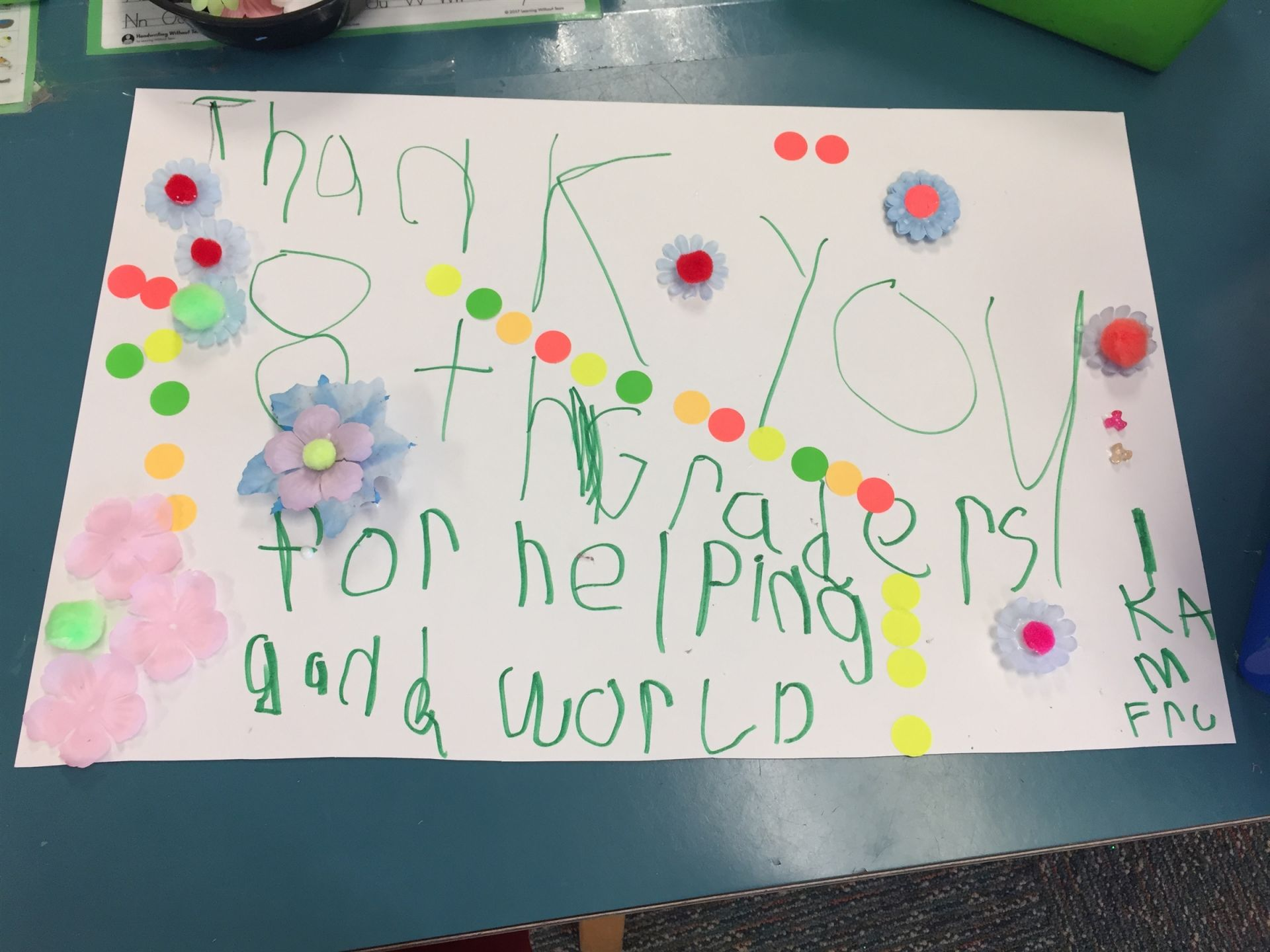 Thank You Message to the Community from Kindergarteners