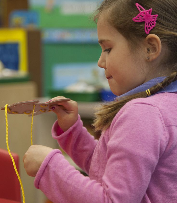 Fine-motor activities are encouraged through an integrated curriculum.