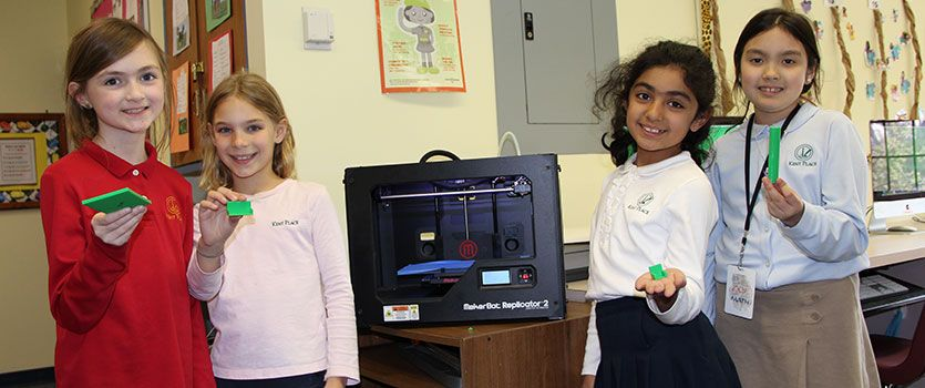 Students have access to numerous STEM tools, including our 3D printer used to build inventions.